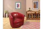 Marvel Red Leather-Look Swivel Accent Chair by Porter Designs