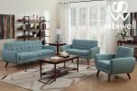 Daphne Teal Linen-look Poly Sofa