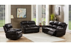 COMING SOON, PRE-ORDER NOW! Marco Black Leather Reclining Sofa, Loveseat & Rocker, ML7641