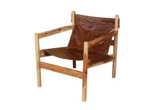 Genoa Real Brown Leather Sling Accent Chair by Porter Designs