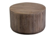Round Drum Gray Wash Mango Wood Coffee Table by Porter Designs