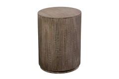 Round Drum Gray Wash Mango Wood End Table by Porter Designs, designed in Portland, Oregon