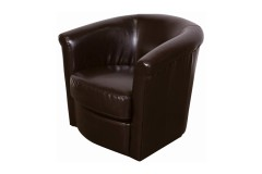 Marvel Chocolate Brown Leather-Look Swivel Accent Chair by Porter Designs