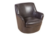 Hayes Brown Leather-Look Swivel Accent Chair by Porter Designs, designed in Portland, Oregon