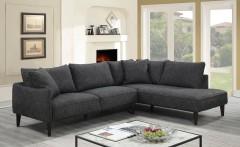 Asher Gray Velvet Linen Style Microfiber RHF Sectional by Porter Designs