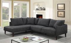 Asher Gray Velvet Linen Style Microfiber LHF Sectional by Porter Designs