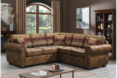 Hunter Chenille Wildlife Pattern & Leather-Look Poly Sectional by Porter Designs